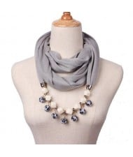 Fluffy Balls Design High Fashion Scarf Necklace - Gray