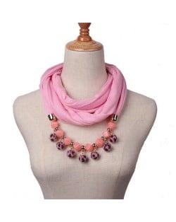 Fluffy Balls Design High Fashion Scarf Necklace - Pink