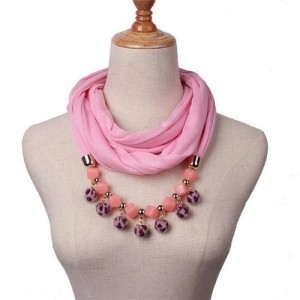 Fluffy Balls Design High Fashion Scarf Necklace - Pink