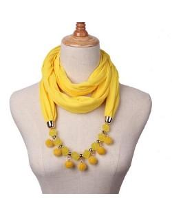 Fluffy Balls Design High Fashion Scarf Necklace - Yellow
