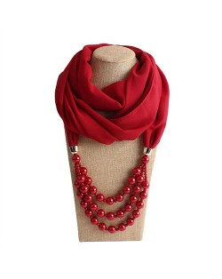 Triple Layers Beads Fashion Women Scarf Necklace - Red