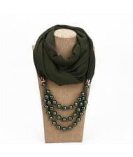 Triple Layers Beads Fashion Women Scarf Necklace - Ink Green