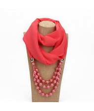 Triple Layers Beads Fashion Women Scarf Necklace - Watermelon Red