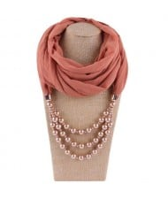 Triple Layers Beads Fashion Women Scarf Necklace - Champagne