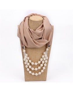 Triple Layers Beads Fashion Women Scarf Necklace - Khaki