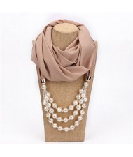 Triple Layers Beads Fashion Women Scarf Necklace - Khaki