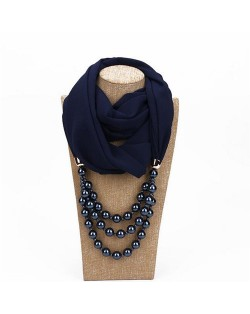 Triple Layers Beads Fashion Women Scarf Necklace - Ink Blue