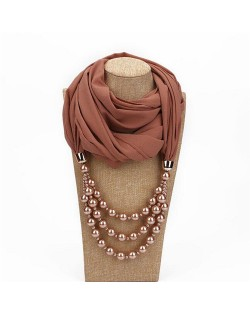 Triple Layers Beads Fashion Women Scarf Necklace - Brown
