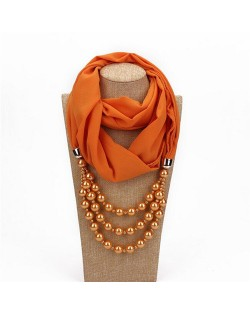 Triple Layers Beads Fashion Women Scarf Necklace - Orange