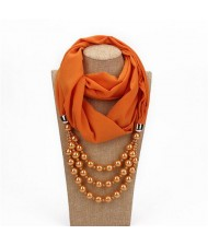 Triple Layers Beads Fashion Women Scarf Necklace - Orange
