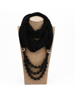 Triple Layers Beads Fashion Women Scarf Necklace - Black