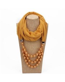 Triple Layers Beads Fashion Women Scarf Necklace - Yellow