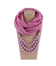 Triple Layers Beads Fashion Women Scarf Necklace - Light Purple