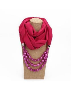 Triple Layers Beads Fashion Women Scarf Necklace - Rose