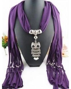 Night-owl Pendant Classic Style Scarf Necklace - Purple