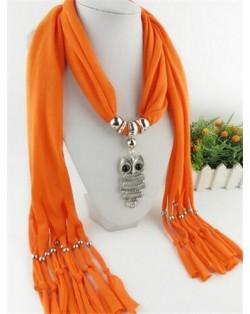 Night-owl Pendant Classic Style Scarf Necklace - Orange