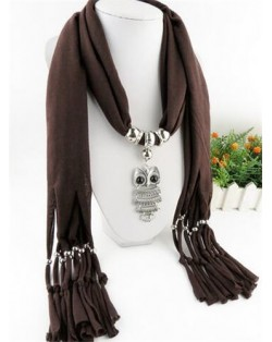 Night-owl Pendant Classic Style Scarf Necklace - Coffee