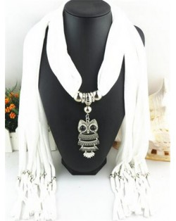 Night-owl Pendant Classic Style Scarf Necklace - White