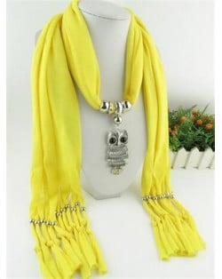 Night-owl Pendant Classic Style Scarf Necklace - Yellow