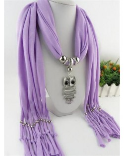 Night-owl Pendant Classic Style Scarf Necklace - Violet
