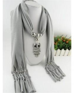 Night-owl Pendant Classic Style Scarf Necklace - Light Gray