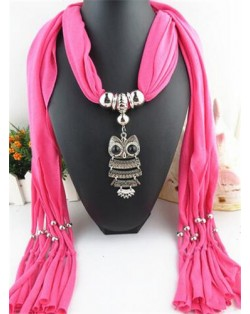Night-owl Pendant Classic Style Scarf Necklace - Rose