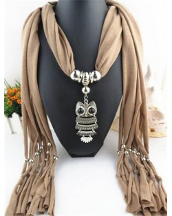 Night-owl Pendant Classic Style Scarf Necklace - Brown