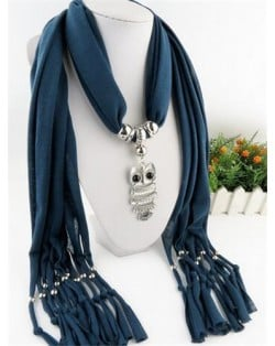 Night-owl Pendant Classic Style Scarf Necklace - Ink Blue