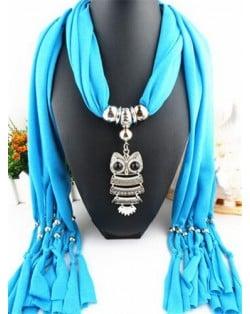 Night-owl Pendant Classic Style Scarf Necklace - Sky Blue