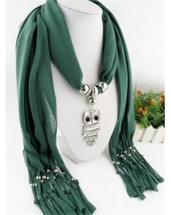 Night-owl Pendant Classic Style Scarf Necklace - Ink Green