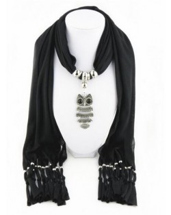 Night-owl Pendant Classic Style Scarf Necklace - Black