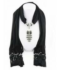 Night-owl Pendant Classic Style Scarf Necklace - Black