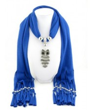Night-owl Pendant Classic Style Scarf Necklace - Royal Blue