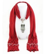 Night-owl Pendant Classic Style Scarf Necklace - Red
