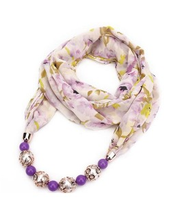 Hollow Beads Embellished Floral and Leaves Prints High Fashion Scarf Necklace - Purple