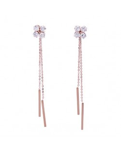 Shining Cubic Zirconia Flower with Long Chain Tassel Design Stainless Steel Earrings