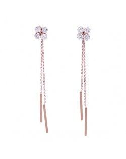 Shining Cubic Zirconia Flower with Long Chain Tassel Design Stainless Steel Earrings