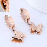 Dull Polished Texture Graceful Butterfly Design Stainless Steel Earrings