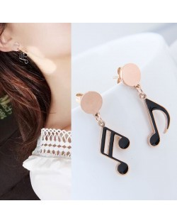 Oil-spot Glazed Musical Note Design Cute Fashion Stainless Steel Earrings