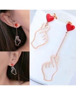 Hands Gesture Heart Fashion Asymmetric Design Korean Fashion Stainless Steel Earrings