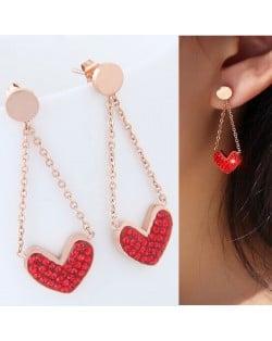 Czech Rhinestone Embellished Heart Pendant High Fashion Stainless Steel Earrings - Red