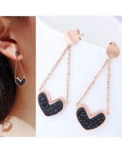 Czech Rhinestone Embellished Heart Pendant High Fashion Stainless Steel Earrings - Black