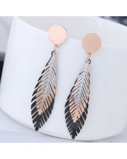 Triple Colors Leaves Design Fashion Stainless Steel Earrings