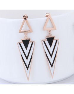 Contrast Color Triangles Design High Fashion Stainless Steel Earrings