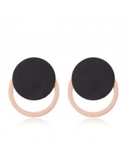 Button Inspired Fashion Women Stainless Steel Earrings