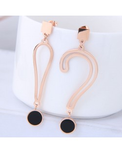 Exclamatory Mark and Question Mark Asymmetric Design Stainless Steel Earrings