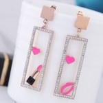 Heart Lipstick Lips Inlaid Dangling Hollow Oblong Stainless Steel Earrings - Pink