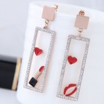 Heart Lipstick Lips Inlaid Dangling Hollow Oblong Stainless Steel Earrings - Red