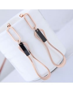 Elegant Dangling Waterdrop Design Stainless Steel Earrings