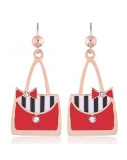 Oil-spot Glazed Red Women Bags Design High Fashion Stainless Steel Earrings
